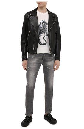 Мужская хлопковая футболка RH45 белого цвета, арт. JX23 | Фото 2 (Принт: С принтом; Материал внешний: Хлопок; Стили: Панк; Рукава: Короткие; Длина (для топов): Стандартные)