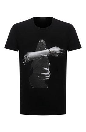 Мужская хлопковая футболка RH45 черного цвета, арт. JS13-S | Фото 1 (Принт: С принтом; Рукава: Короткие; Стили: Панк; Материал внешний: Хлопок; Длина (для топов): Стандартные)