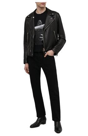 Мужская хлопковая футболка RH45 черного цвета, арт. JS13-S | Фото 2 (Принт: С принтом; Рукава: Короткие; Стили: Панк; Материал внешний: Хлопок; Длина (для топов): Стандартные)