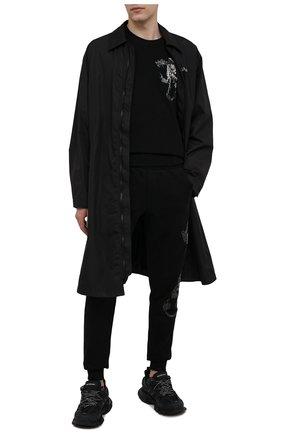 Мужской хлопковый свитшот RH45 черного цвета, арт. JF09-I | Фото 2 (Рукава: Длинные; Стили: Панк; Длина (для топов): Стандартные; Принт: С принтом; Мужское Кросс-КТ: свитшот-одежда; Материал внешний: Хлопок)