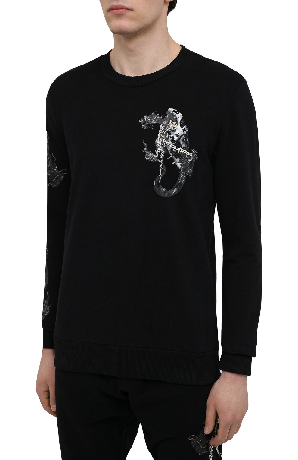 Мужской хлопковый свитшот RH45 черного цвета, арт. JF09-I | Фото 3 (Рукава: Длинные; Стили: Панк; Длина (для топов): Стандартные; Принт: С принтом; Мужское Кросс-КТ: свитшот-одежда; Материал внешний: Хлопок)