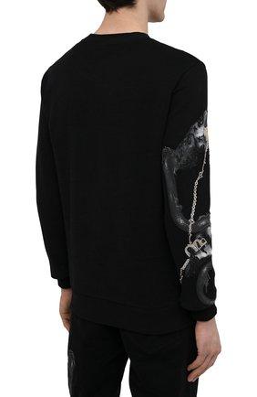 Мужской хлопковый свитшот RH45 черного цвета, арт. JF09-I | Фото 4 (Рукава: Длинные; Стили: Панк; Длина (для топов): Стандартные; Принт: С принтом; Мужское Кросс-КТ: свитшот-одежда; Материал внешний: Хлопок)