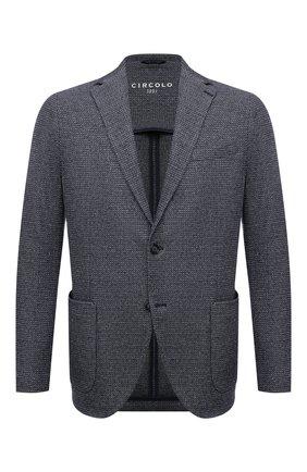 Мужской пиджак из хлопка и льна CIRCOLO 1901 темно-синего цвета, арт. CN3099 | Фото 1