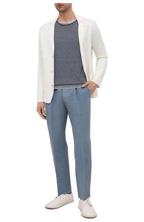 Мужские льняные брюки ALTEA голубого цвета, арт. 2153065 | Фото 2