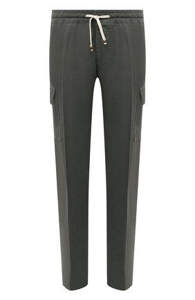 Мужские льняные брюки-карго ALTEA хаки цвета, арт. 2153025 | Фото 1