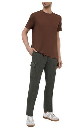 Мужские льняные брюки-карго ALTEA хаки цвета, арт. 2153025 | Фото 2