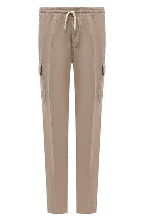 Мужские льняные брюки-карго ALTEA бежевого цвета, арт. 2153025 | Фото 1