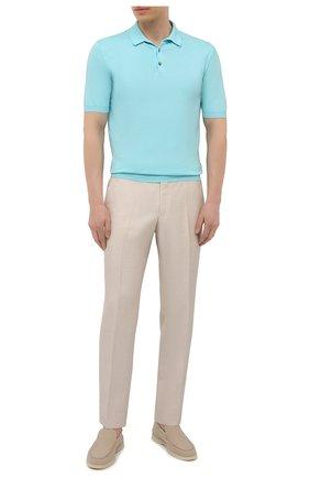 Мужское хлопковое поло ALTEA голубого цвета, арт. 2151028 | Фото 2
