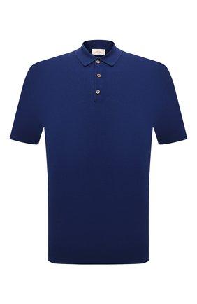 Мужское поло изо льна и хлопка ALTEA синего цвета, арт. 2151002 | Фото 1