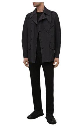 Мужская куртка TRANSIT темно-серого цвета, арт. CFUTRNP252 | Фото 2 (Кросс-КТ: Куртка, Ветровка; Материал внешний: Хлопок, Синтетический материал; Стили: Минимализм; Рукава: Длинные; Длина (верхняя одежда): До середины бедра)
