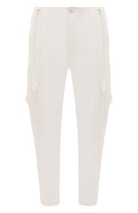 Мужские брюки-карго из хлопка и вискозы TRANSIT белого цвета, арт. CFUTRNE141 | Фото 1