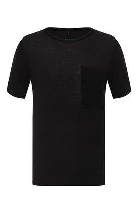 Мужская футболка TRANSIT черного цвета, арт. CFUTRN4391 | Фото 1 (Стили: Минимализм; Принт: Без принта; Материал внешний: Растительное волокно; Рукава: Короткие; Длина (для топов): Стандартные)
