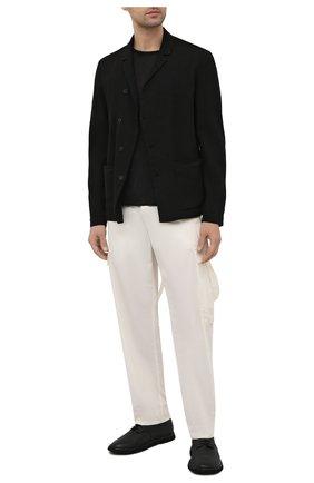 Мужская футболка TRANSIT черного цвета, арт. CFUTRN4391 | Фото 2 (Стили: Минимализм; Принт: Без принта; Материал внешний: Растительное волокно; Рукава: Короткие; Длина (для топов): Стандартные)