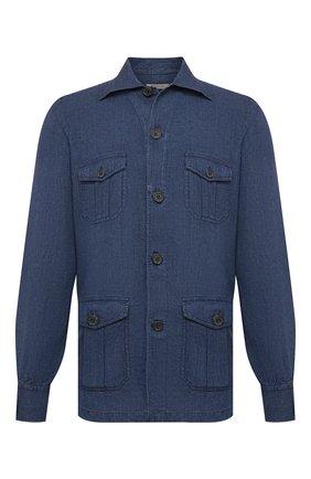 Мужская льняная рубашка FIORONI синего цвета, арт. MCV22DENG1 | Фото 1 (Воротник: Акула; Материал внешний: Лен; Стили: Кэжуэл; Длина (для топов): Стандартные; Манжеты: На пуговицах; Рукава: Длинные; Принт: Однотонные; Случай: Повседневный)