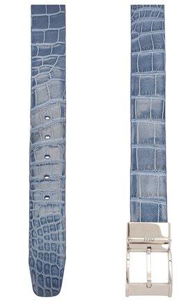 Мужской двусторонний ремень из кожи крокодила ZILLI голубого цвета, арт. MJL-REVRE-A0145/0071/CP0R | Фото 2