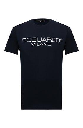 Мужская хлопковая футболка DSQUARED2 темно-синего цвета, арт. S71GD1055/S22844 | Фото 1