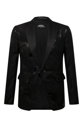 Мужской пиджак DSQUARED2 черного цвета, арт. S74BN1052/S53625 | Фото 1 (Длина (для топов): Стандартные; Стили: Гламурный; Случай: Вечерний; Материал внешний: Шерсть; Рукава: Длинные; Пиджаки М: Приталенный; Материал подклада: Синтетический материал; 1-2-бортные: Однобортные)