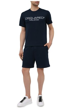 Мужские хлопковые шорты DSQUARED2 темно-синего цвета, арт. S79MU0018/S25042 | Фото 2