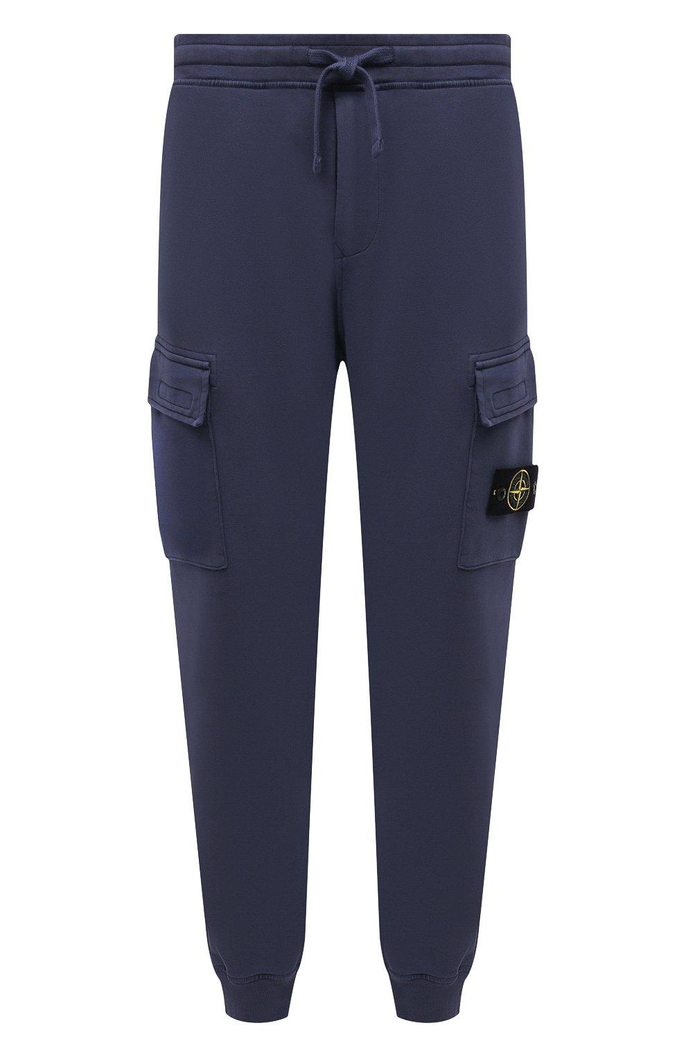 Мужские хлопковые джоггеры STONE ISLAND темно-синего цвета, арт. 741565251   Фото 1 (Силуэт М (брюки): Карго, Джоггеры; Мужское Кросс-КТ: Брюки-трикотаж; Длина (брюки, джинсы): Стандартные; Материал внешний: Хлопок; Стили: Спорт-шик)
