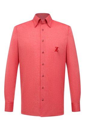 Мужская сорочка из хлопка и льна ZILLI красного цвета, арт. MFV-1262-6000/ZS016 | Фото 1