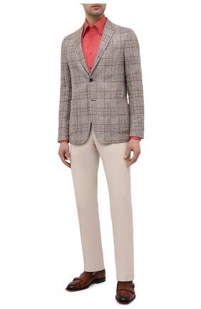 Мужская сорочка из хлопка и льна ZILLI красного цвета, арт. MFV-1262-6000/ZS016 | Фото 2