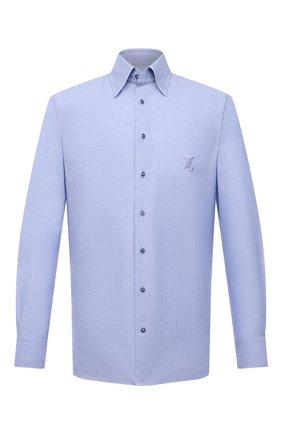 Мужская сорочка из хлопка и льна ZILLI голубого цвета, арт. MFV-1262-6000/ZS001 | Фото 1