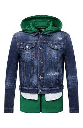 Мужская комплект из куртки и жилета DSQUARED2 темно-синего цвета, арт. S74AM1122/S30342 | Фото 1 (Кросс-КТ: Деним, Куртка; Материал внешний: Хлопок; Длина (верхняя одежда): Короткие; Рукава: Длинные; Стили: Гранж)