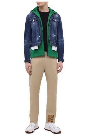 Мужская комплект из куртки и жилета DSQUARED2 темно-синего цвета, арт. S74AM1122/S30342 | Фото 2 (Кросс-КТ: Деним, Куртка; Материал внешний: Хлопок; Длина (верхняя одежда): Короткие; Рукава: Длинные; Стили: Гранж)