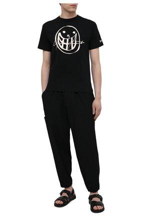 Мужская хлопковая футболка YOHJI YAMAMOTO черного цвета, арт. HD-T98-083 | Фото 2 (Длина (для топов): Стандартные; Стили: Гранж; Рукава: Короткие; Принт: С принтом; Материал внешний: Хлопок)