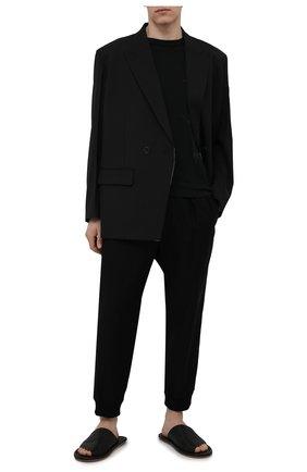 Мужская хлопковая футболка YOHJI YAMAMOTO черного цвета, арт. HD-T99-083 | Фото 2 (Стили: Минимализм; Длина (для топов): Стандартные; Материал внешний: Хлопок; Принт: С принтом; Рукава: Короткие)