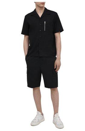 Мужская хлопковая рубашка NEIL BARRETT черного цвета, арт. PBCM1469V/Q012S | Фото 2