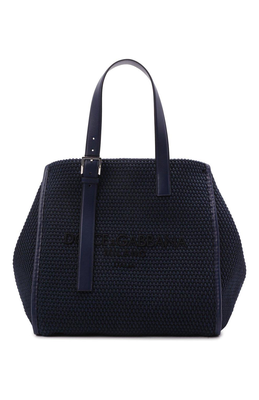 Мужская текстильная сумка-шопер DOLCE & GABBANA темно-синего цвета, арт. BM1834/A0307   Фото 1 (Материал: Текстиль)