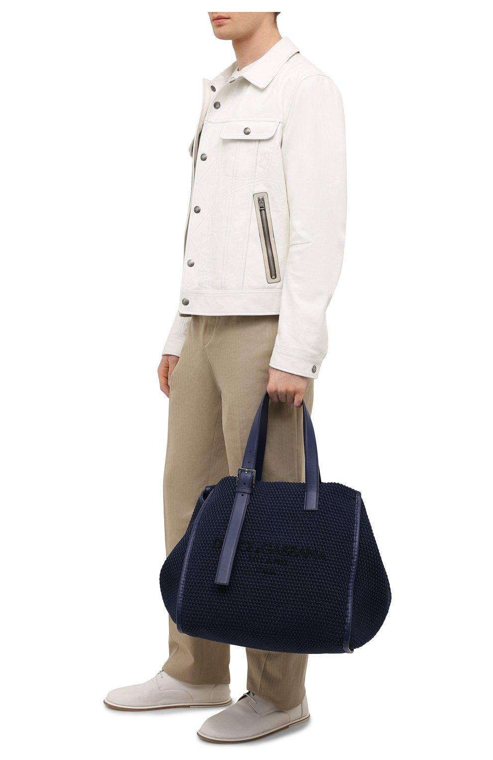 Мужская текстильная сумка-шопер DOLCE & GABBANA темно-синего цвета, арт. BM1834/A0307   Фото 2 (Материал: Текстиль)