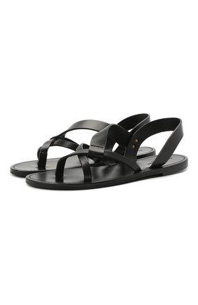 Мужские кожаные сандалии matt SAINT LAURENT черного цвета, арт. 649009/DWE00   Фото 1 (Материал внешний: Кожа)