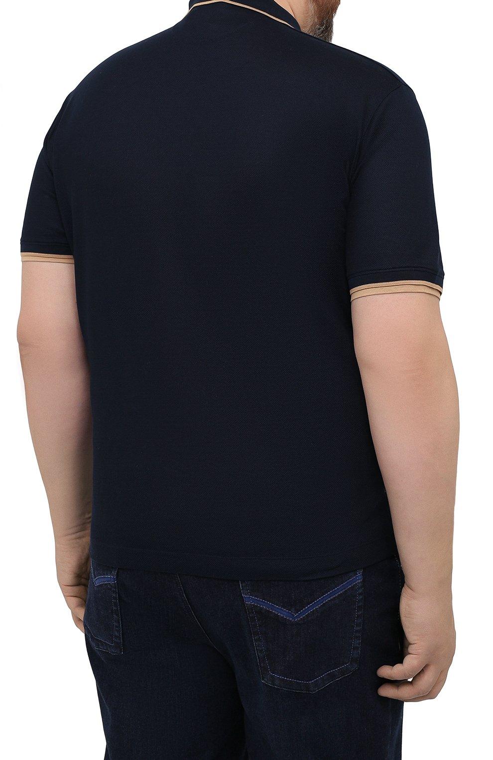 Мужское хлопковое поло CORTIGIANI темно-синего цвета, арт. 116632/0000/60-70   Фото 4 (Застежка: Пуговицы; Big sizes: Big Sizes; Рукава: Короткие; Длина (для топов): Удлиненные; Материал внешний: Хлопок; Стили: Кэжуэл)