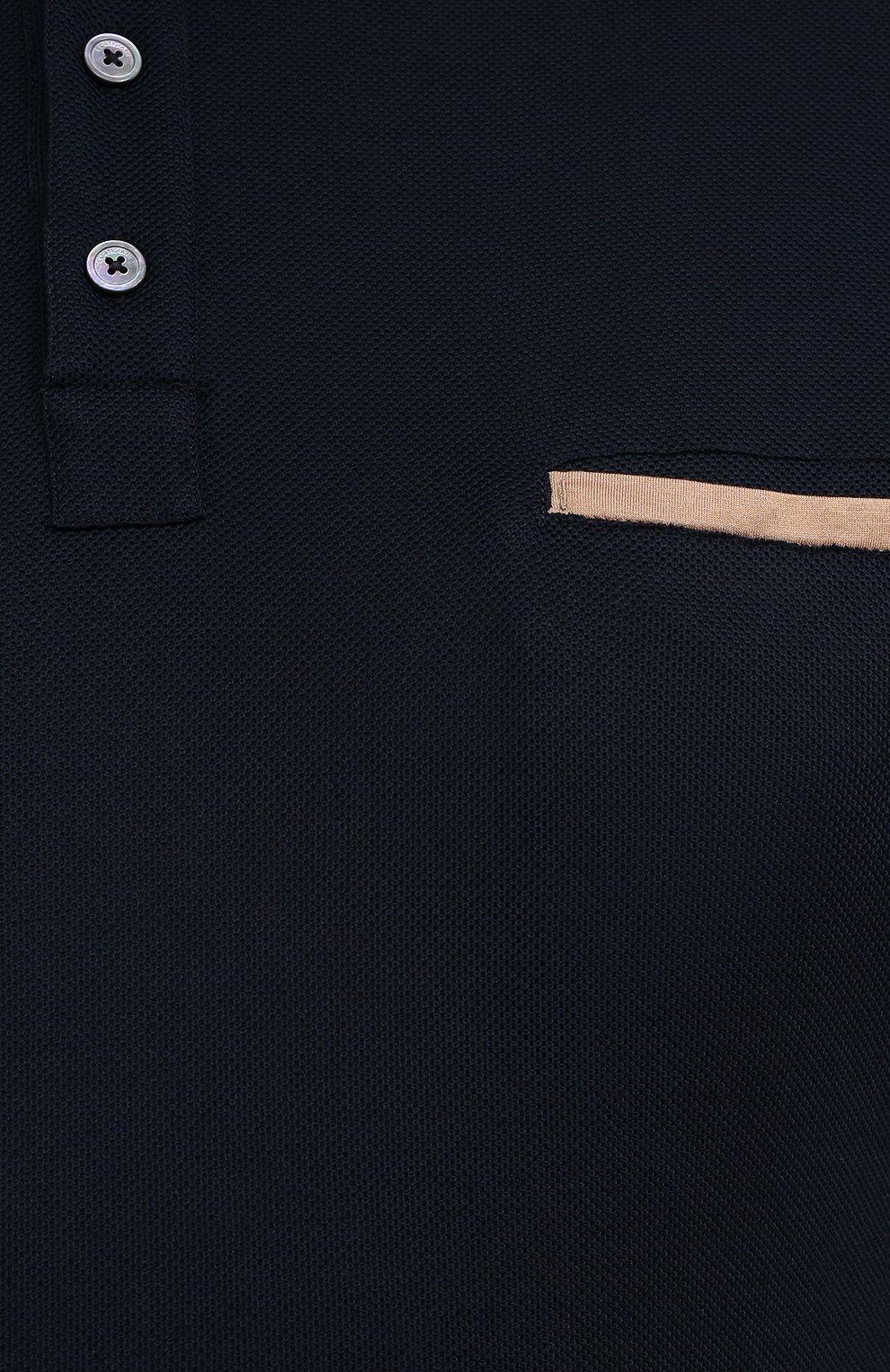 Мужское хлопковое поло CORTIGIANI темно-синего цвета, арт. 116632/0000/60-70   Фото 5 (Застежка: Пуговицы; Big sizes: Big Sizes; Рукава: Короткие; Длина (для топов): Удлиненные; Материал внешний: Хлопок; Стили: Кэжуэл)