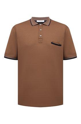 Мужское хлопковое поло CORTIGIANI коричневого цвета, арт. 116632/0000/60-70 | Фото 1