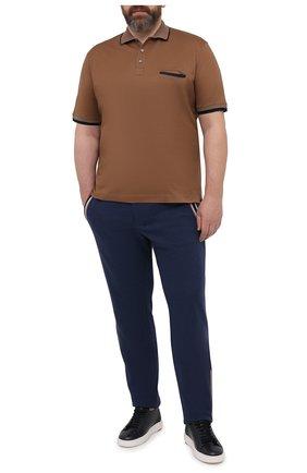 Мужское хлопковое поло CORTIGIANI коричневого цвета, арт. 116632/0000/60-70 | Фото 2