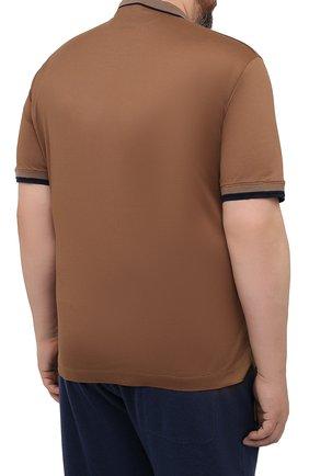 Мужское хлопковое поло CORTIGIANI коричневого цвета, арт. 116632/0000/60-70   Фото 4 (Застежка: Пуговицы; Big sizes: Big Sizes; Рукава: Короткие; Длина (для топов): Удлиненные; Материал внешний: Хлопок; Стили: Кэжуэл)