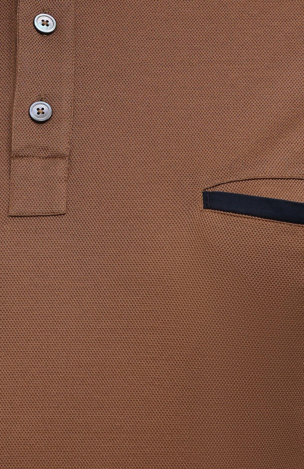 Мужское хлопковое поло CORTIGIANI коричневого цвета, арт. 116632/0000/60-70   Фото 5 (Застежка: Пуговицы; Big sizes: Big Sizes; Рукава: Короткие; Длина (для топов): Удлиненные; Материал внешний: Хлопок; Стили: Кэжуэл)