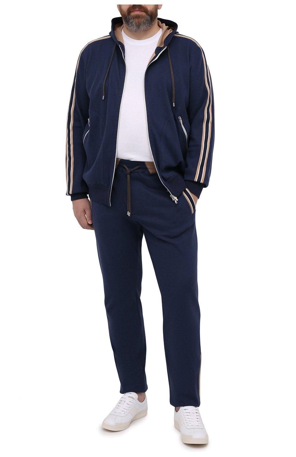 Мужской хлопковая толстовка CORTIGIANI темно-синего цвета, арт. 114613/0000/60-70 | Фото 2 (Big sizes: Big Sizes; Рукава: Длинные; Мужское Кросс-КТ: Толстовка-одежда; Длина (для топов): Стандартные; Материал внешний: Хлопок; Стили: Спорт-шик)