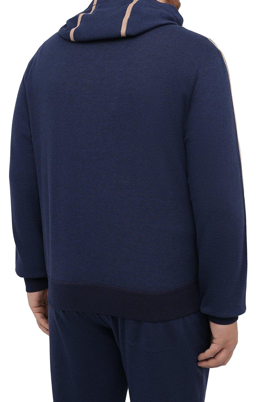 Мужской хлопковая толстовка CORTIGIANI темно-синего цвета, арт. 114613/0000/60-70 | Фото 4 (Big sizes: Big Sizes; Рукава: Длинные; Мужское Кросс-КТ: Толстовка-одежда; Длина (для топов): Стандартные; Материал внешний: Хлопок; Стили: Спорт-шик)