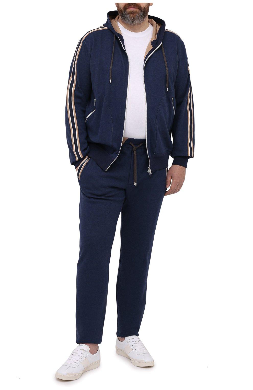 Мужские хлопковые брюки CORTIGIANI синего цвета, арт. 114612/0000/60-70 | Фото 2 (Big sizes: Big Sizes; Длина (брюки, джинсы): Стандартные; Кросс-КТ: Спорт; Материал внешний: Хлопок; Стили: Спорт-шик)