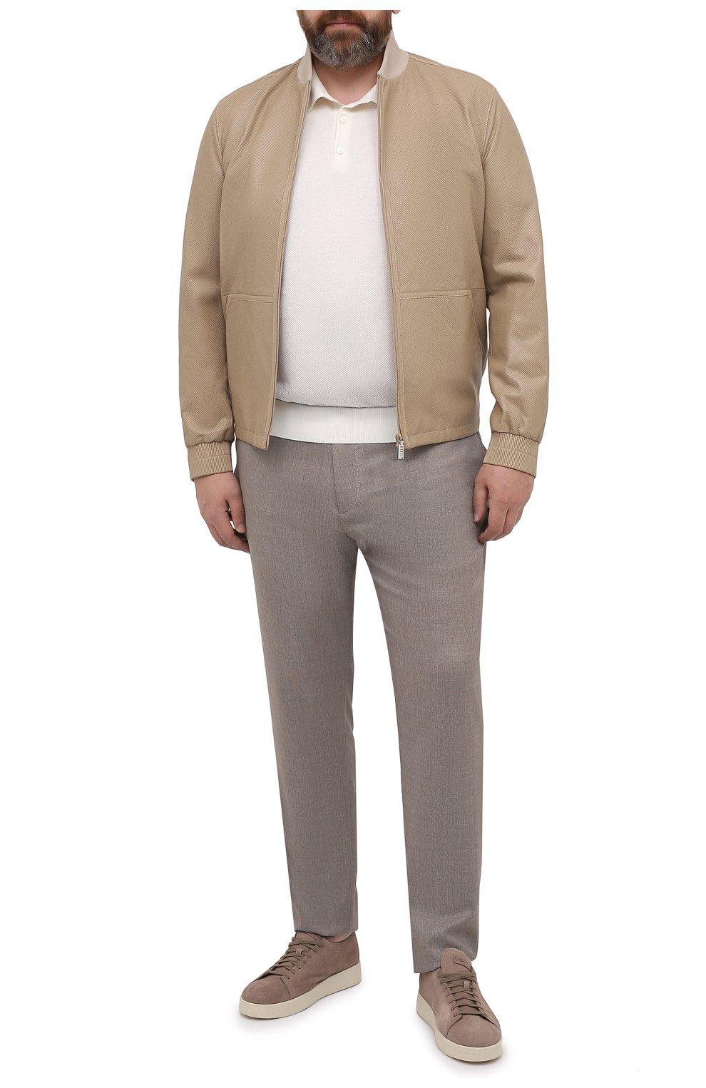 Мужские шерстяные брюки MARCO PESCAROLO бежевого цвета, арт. CHIAIAM/4328 | Фото 2 (Big sizes: Big Sizes; Материал внешний: Шерсть; Длина (брюки, джинсы): Стандартные; Случай: Повседневный; Стили: Кэжуэл)