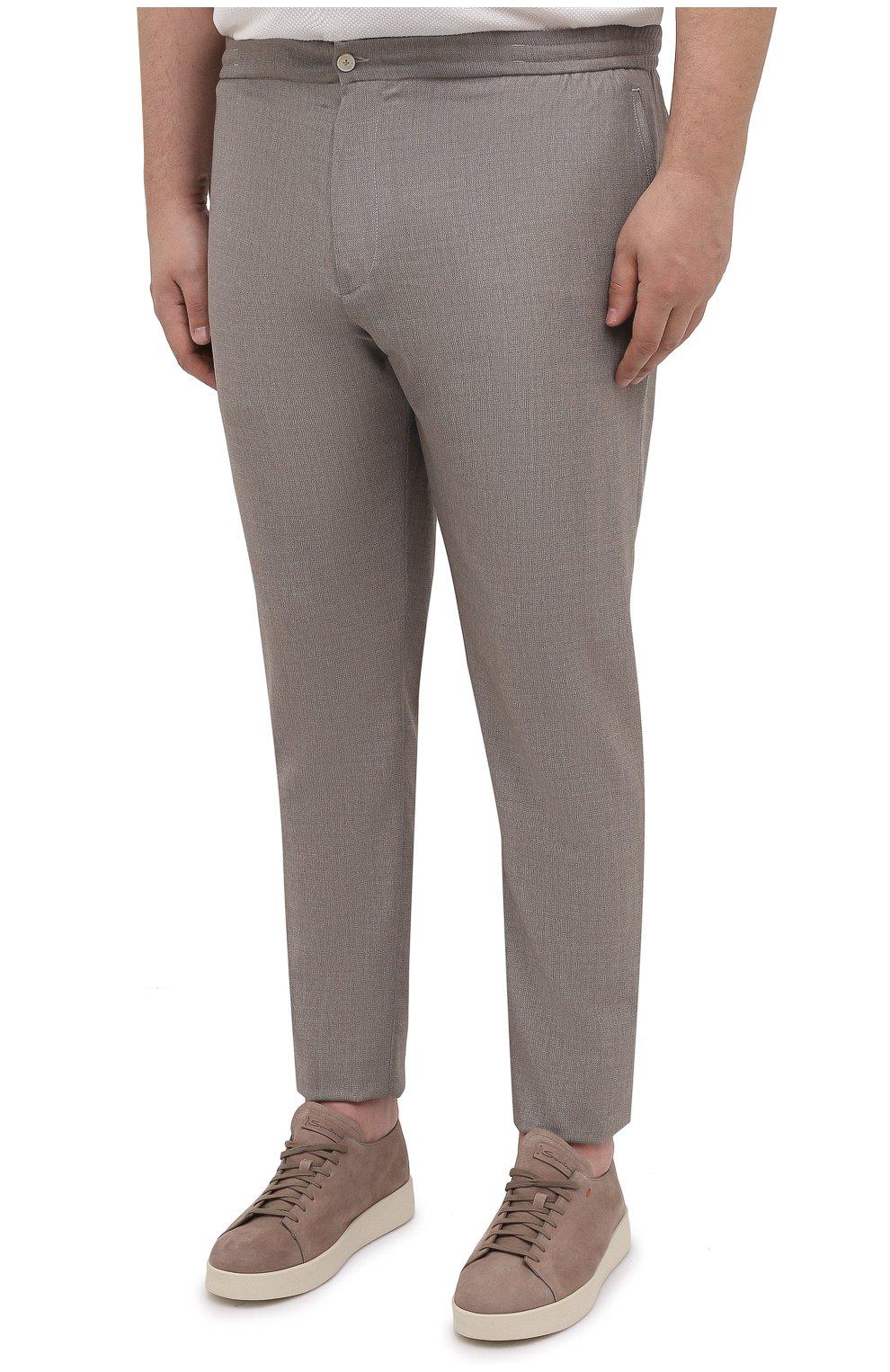Мужские шерстяные брюки MARCO PESCAROLO бежевого цвета, арт. CHIAIAM/4328 | Фото 3 (Big sizes: Big Sizes; Материал внешний: Шерсть; Длина (брюки, джинсы): Стандартные; Случай: Повседневный; Стили: Кэжуэл)