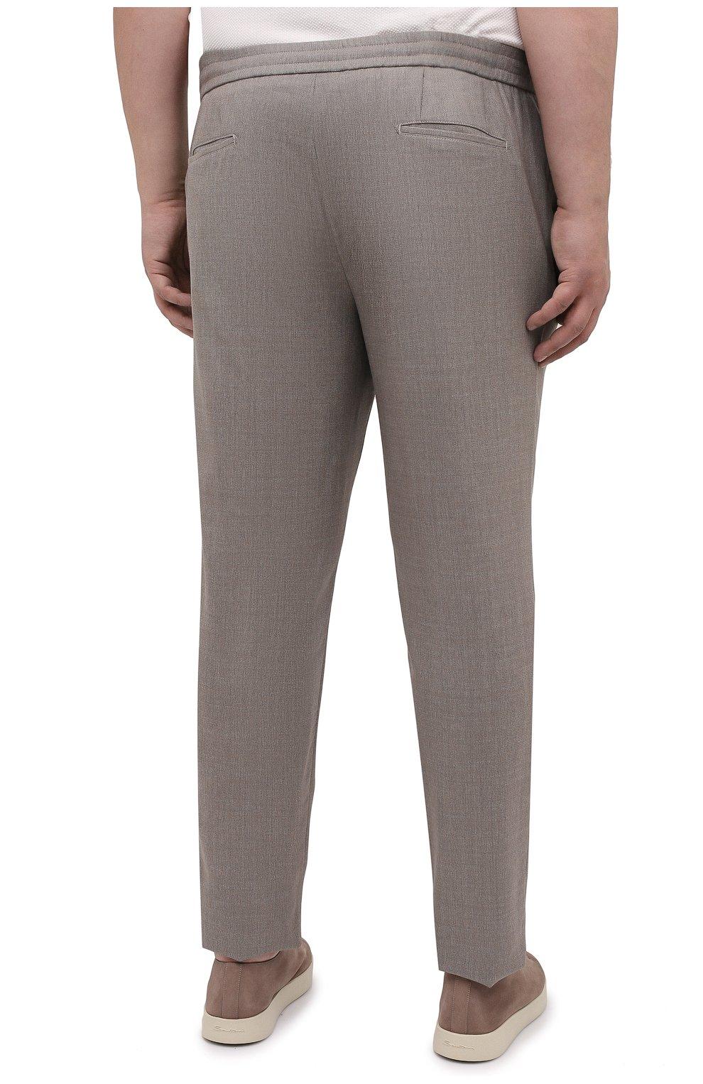 Мужские шерстяные брюки MARCO PESCAROLO бежевого цвета, арт. CHIAIAM/4328 | Фото 4 (Big sizes: Big Sizes; Материал внешний: Шерсть; Длина (брюки, джинсы): Стандартные; Случай: Повседневный; Стили: Кэжуэл)