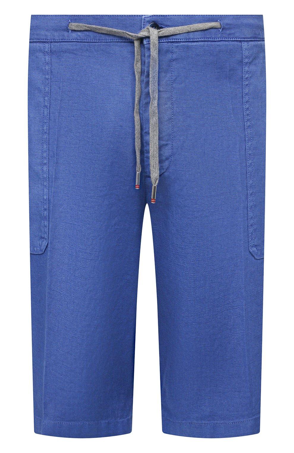 Мужские шорты изо льна и хлопка MARCO PESCAROLO синего цвета, арт. PIEDIGR0TT/4307 | Фото 1 (Big sizes: Big Sizes; Мужское Кросс-КТ: Шорты-одежда; Принт: Без принта; Длина Шорты М: Ниже колена; Материал внешний: Хлопок, Лен; Стили: Кэжуэл)