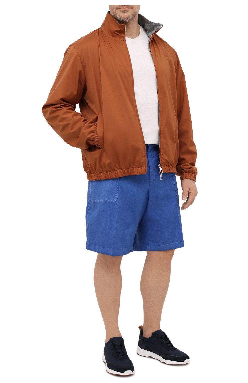 Мужские шорты изо льна и хлопка MARCO PESCAROLO синего цвета, арт. PIEDIGR0TT/4307 | Фото 2 (Big sizes: Big Sizes; Мужское Кросс-КТ: Шорты-одежда; Принт: Без принта; Длина Шорты М: Ниже колена; Материал внешний: Хлопок, Лен; Стили: Кэжуэл)
