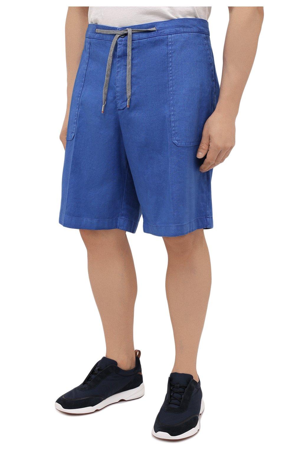 Мужские шорты изо льна и хлопка MARCO PESCAROLO синего цвета, арт. PIEDIGR0TT/4307 | Фото 3 (Big sizes: Big Sizes; Мужское Кросс-КТ: Шорты-одежда; Принт: Без принта; Длина Шорты М: Ниже колена; Материал внешний: Хлопок, Лен; Стили: Кэжуэл)