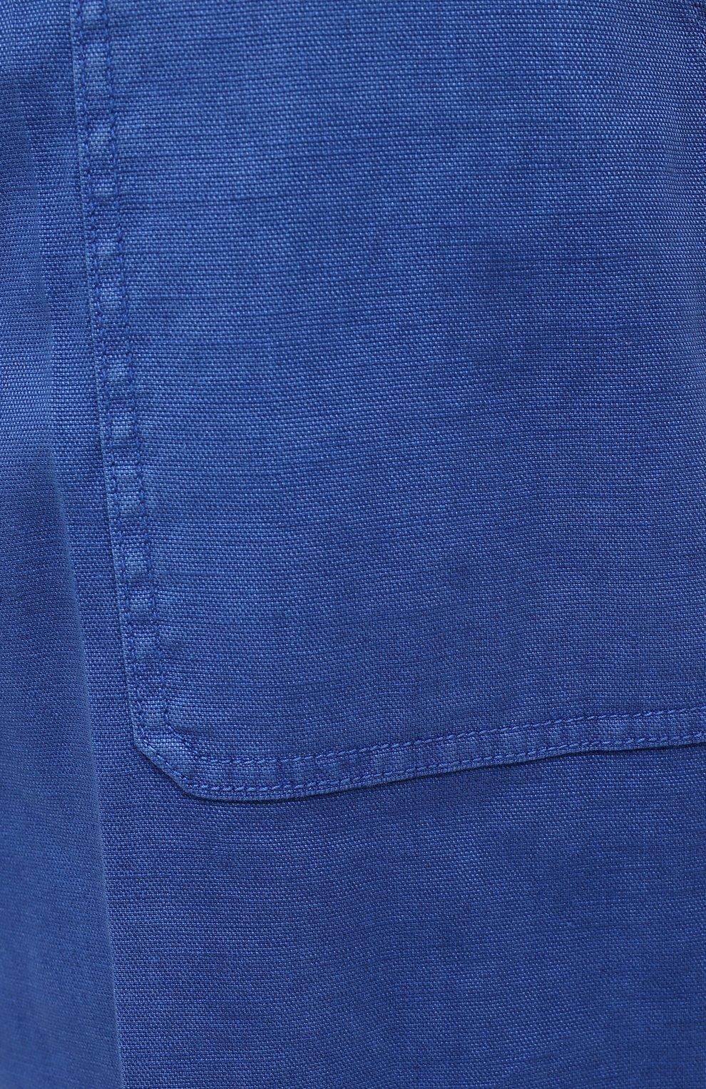 Мужские шорты изо льна и хлопка MARCO PESCAROLO синего цвета, арт. PIEDIGR0TT/4307 | Фото 5 (Big sizes: Big Sizes; Мужское Кросс-КТ: Шорты-одежда; Принт: Без принта; Длина Шорты М: Ниже колена; Материал внешний: Хлопок, Лен; Стили: Кэжуэл)